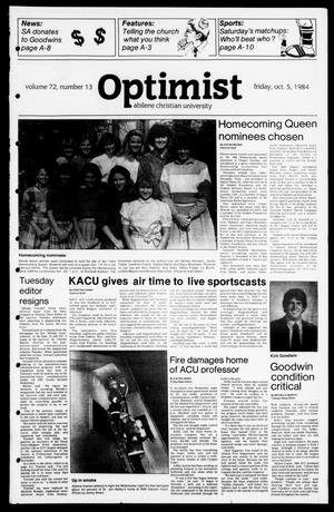 Primary view of object titled 'The Optimist (Abilene, Tex.), Vol. 72, No. 13, Ed. 1, Friday, October 5, 1984'.