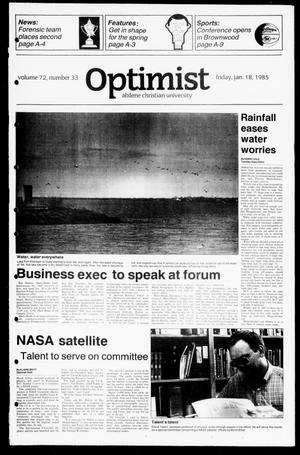 Primary view of object titled 'The Optimist (Abilene, Tex.), Vol. 72, No. 33, Ed. 1, Friday, January 18, 1985'.