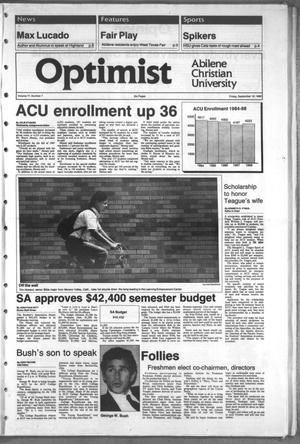 Primary view of object titled 'The Optimist (Abilene, Tex.), Vol. 77, No. 7, Ed. 1, Friday, September 16, 1988'.