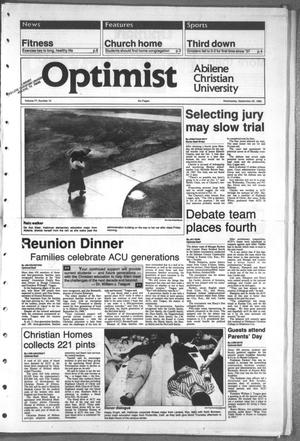 Primary view of object titled 'The Optimist (Abilene, Tex.), Vol. 77, No. 10, Ed. 1, Wednesday, September 28, 1988'.