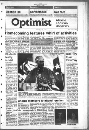 Primary view of object titled 'The Optimist (Abilene, Tex.), Vol. 77, No. 19, Ed. 1, Friday, October 28, 1988'.