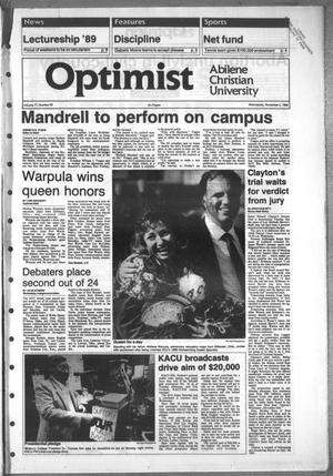 Primary view of object titled 'The Optimist (Abilene, Tex.), Vol. 77, No. 20, Ed. 1, Wednesday, November 2, 1988'.