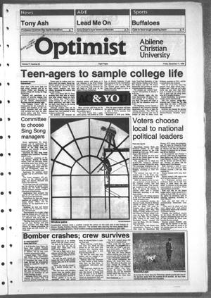 Primary view of object titled 'The Optimist (Abilene, Tex.), Vol. 77, No. 23, Ed. 1, Friday, November 11, 1988'.