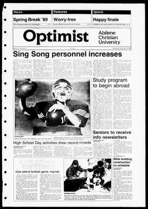 Primary view of object titled 'The Optimist (Abilene, Tex.), Vol. 77, No. 24, Ed. 1, Wednesday, November 16, 1988'.