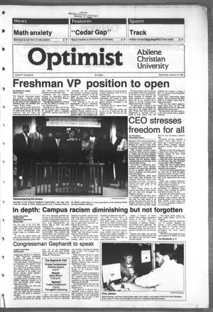 Primary view of object titled 'The Optimist (Abilene, Tex.), Vol. 77, No. 30, Ed. 1, Wednesday, January 18, 1989'.