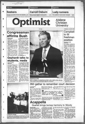 Primary view of object titled 'The Optimist (Abilene, Tex.), Vol. 77, No. 32, Ed. 1, Wednesday, January 25, 1989'.