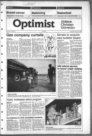 Primary view of object titled 'The Optimist (Abilene, Tex.), Vol. 77, No. 36, Ed. 1, Wednesday, February 8, 1989'.