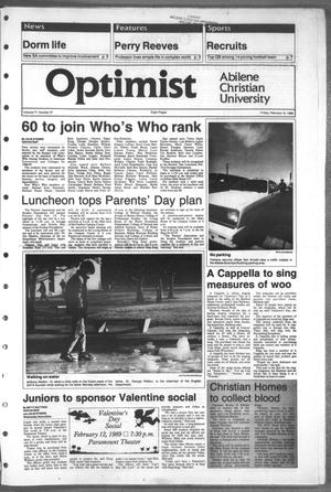 Primary view of object titled 'The Optimist (Abilene, Tex.), Vol. 77, No. 37, Ed. 1, Friday, February 10, 1989'.