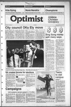 Primary view of object titled 'The Optimist (Abilene, Tex.), Vol. 77, No. 47, Ed. 1, Wednesday, March 29, 1989'.