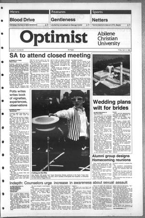 Primary view of object titled 'The Optimist (Abilene, Tex.), Vol. 77, No. 52, Ed. 1, Friday, April 14, 1989'.