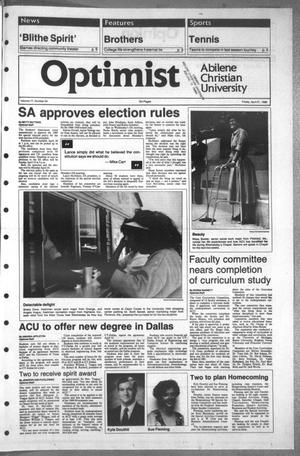 Primary view of object titled 'The Optimist (Abilene, Tex.), Vol. 77, No. 54, Ed. 1, Friday, April 21, 1989'.