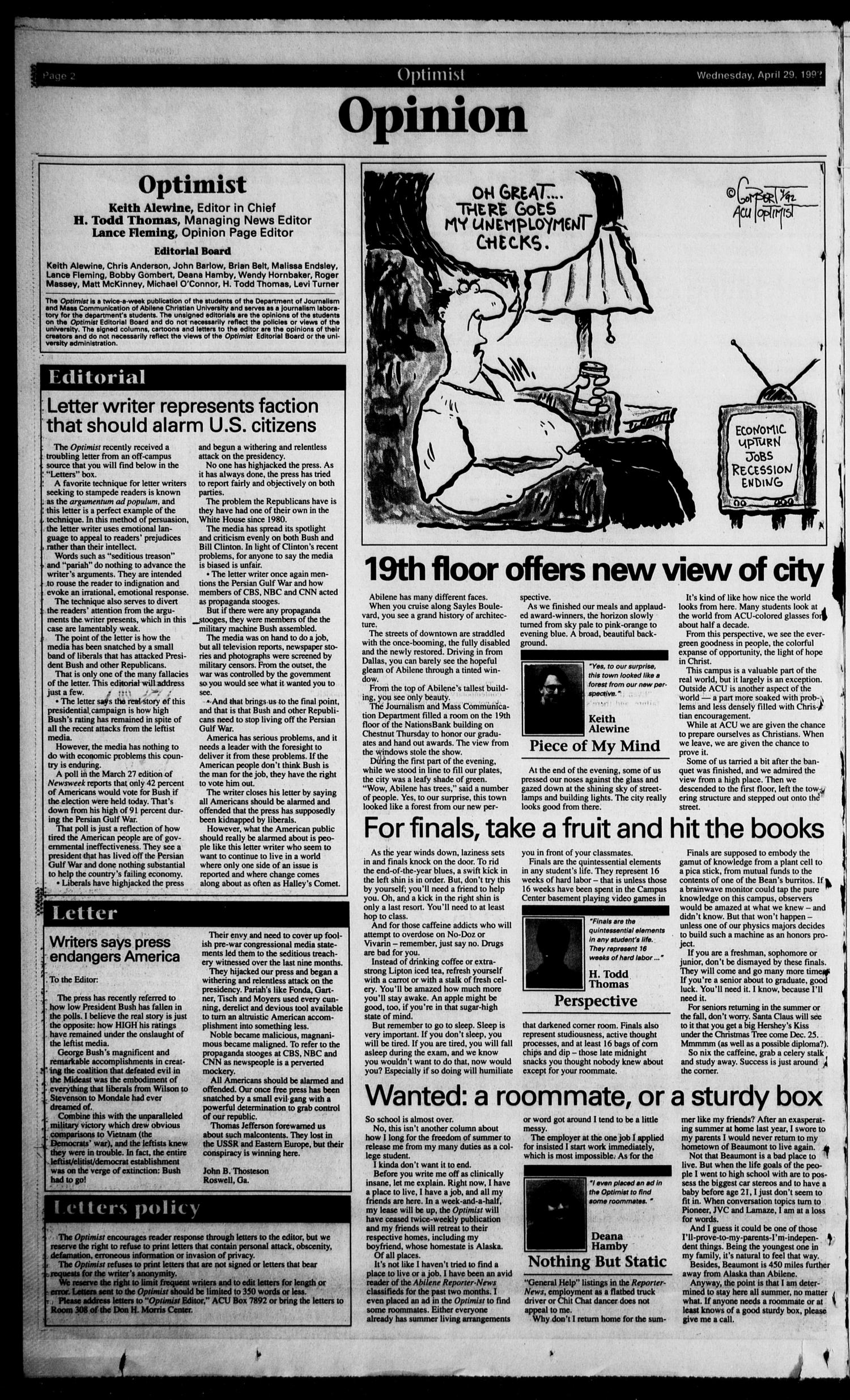 The Optimist (Abilene, Tex.), Vol. 80, No. 57, Ed. 1, Wednesday, April 29, 1992                                                                                                      [Sequence #]: 2 of 8