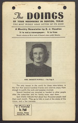 The Doings (Denton, Tex.), Vol. [11], No. [1], Ed. 1 Tuesday, January 25, 1949