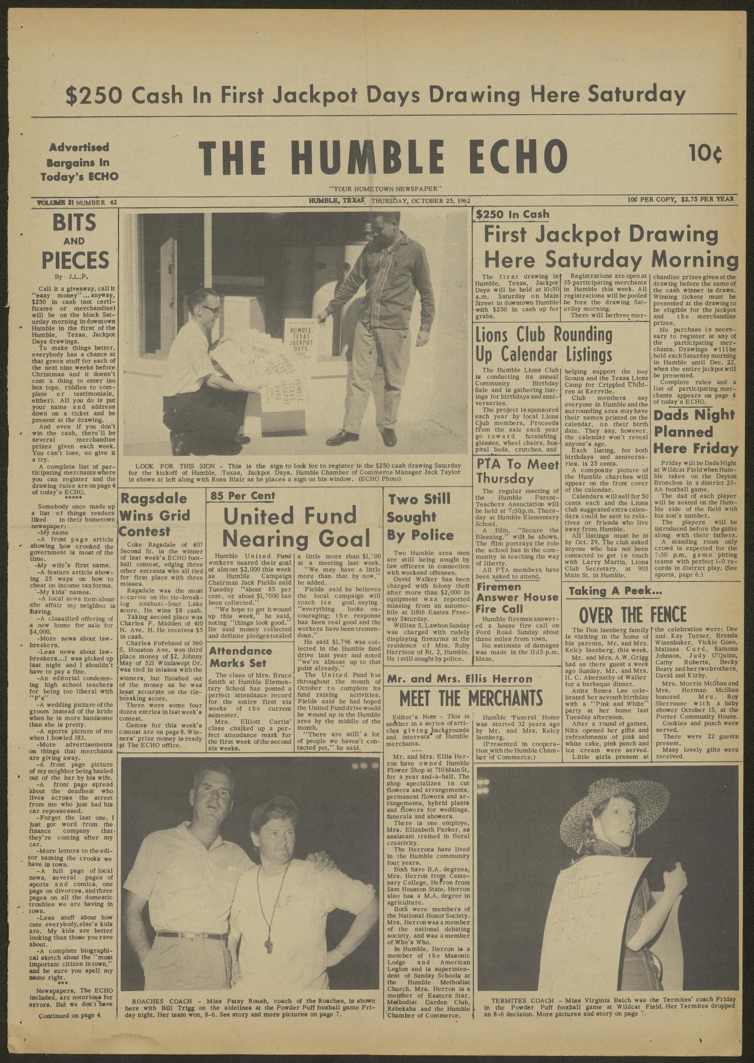 The Humble Echo Humble Tex Vol 21 No 42 Ed 1