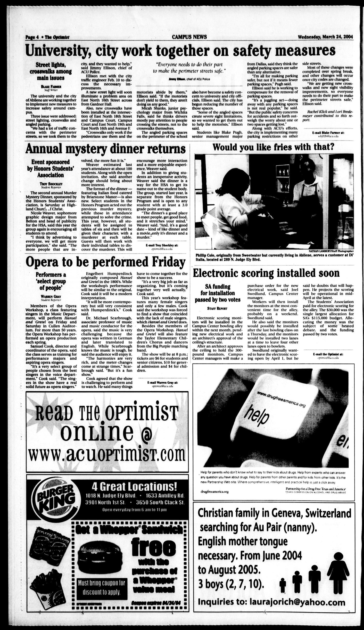 The Optimist (Abilene, Tex.), Vol. 92, No. 43, Ed. 1, Wednesday, March 24, 2004                                                                                                      [Sequence #]: 4 of 10