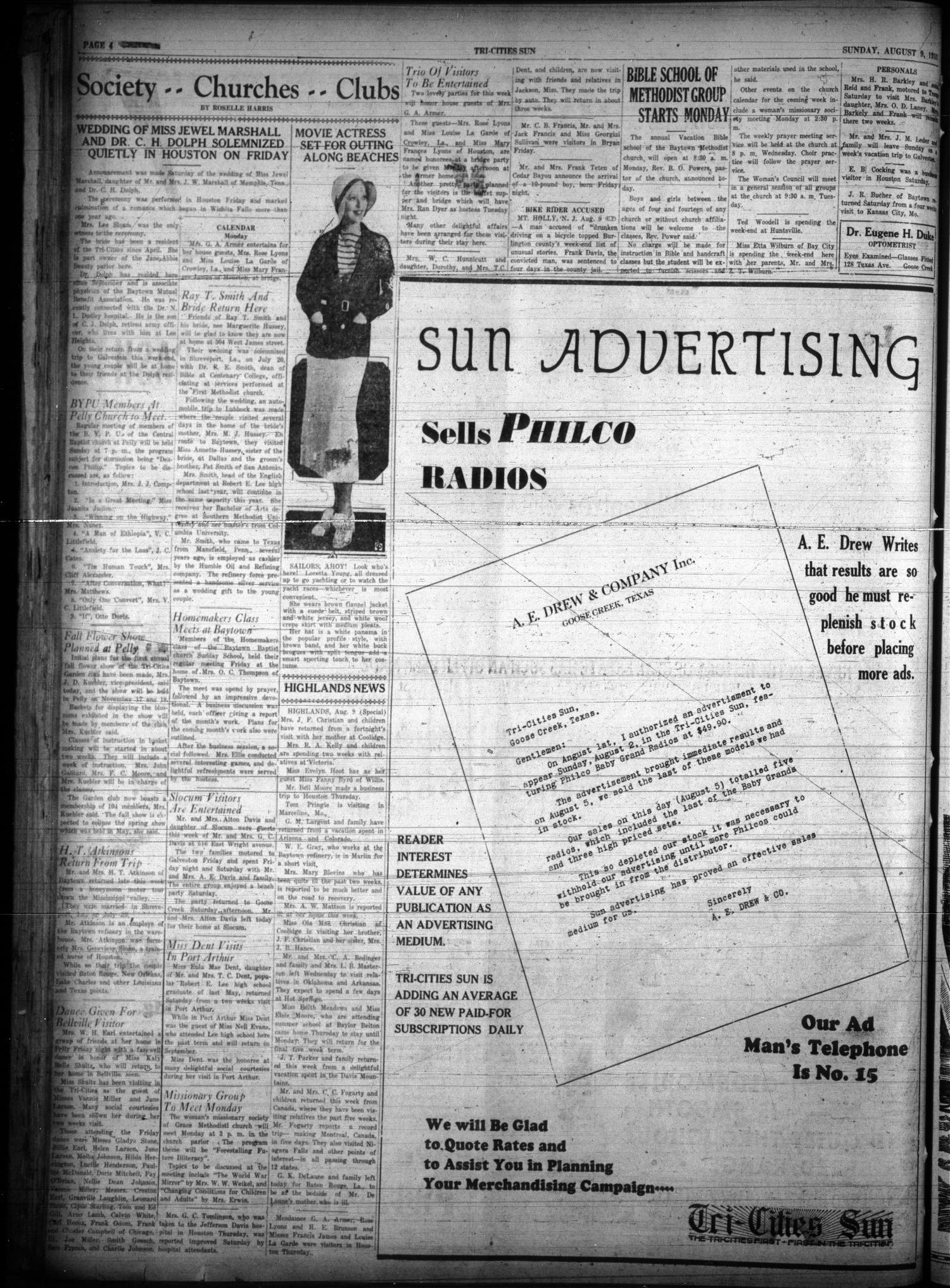 Tri-Cities Sun (Goose Creek, Tex.), Vol. 14, No. 59, Ed. 1 Sunday, August 9, 1931                                                                                                      [Sequence #]: 4 of 12