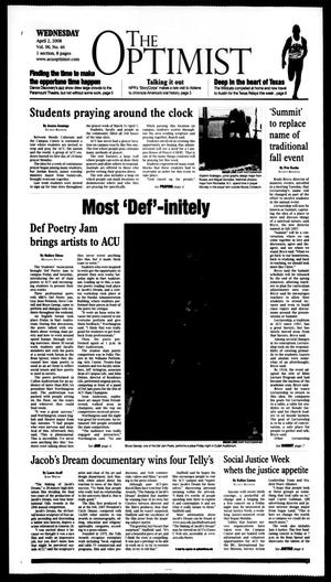 Primary view of object titled 'The Optimist (Abilene, Tex.), Vol. 96, No. 46, Ed. 1, Wednesday, April 2, 2008'.
