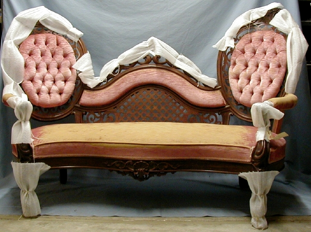 Belter Victorian settee with old rose upholstery.                                                                                                      [Sequence #]: 1 of 1