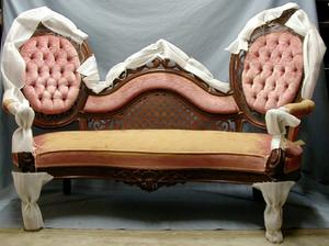 Primary view of object titled 'Belter Victorian settee with old rose upholstery.'.