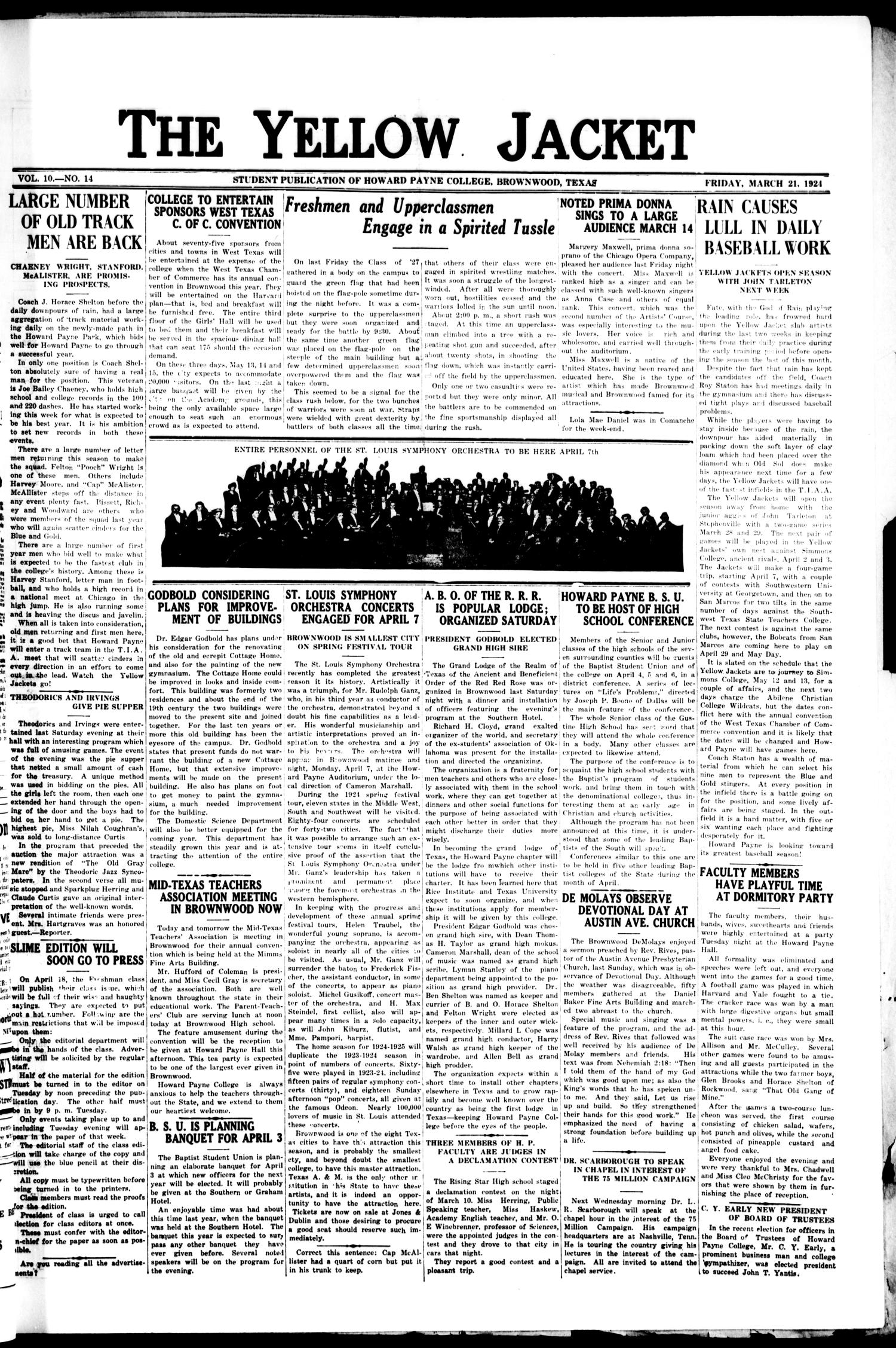 The Yellow Jacket (Brownwood, Tex.), Vol. 10, No. 14, Ed. 1, Friday, March 21, 1924                                                                                                      [Sequence #]: 1 of 4