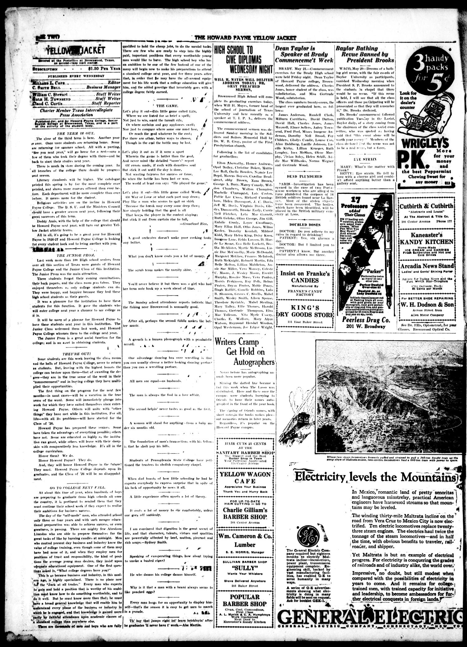 Yellow Jacket (Brownwood, Tex.), Vol. 3, No. 32, Ed. 1, Wednesday, May 26, 1926                                                                                                      [Sequence #]: 2 of 4