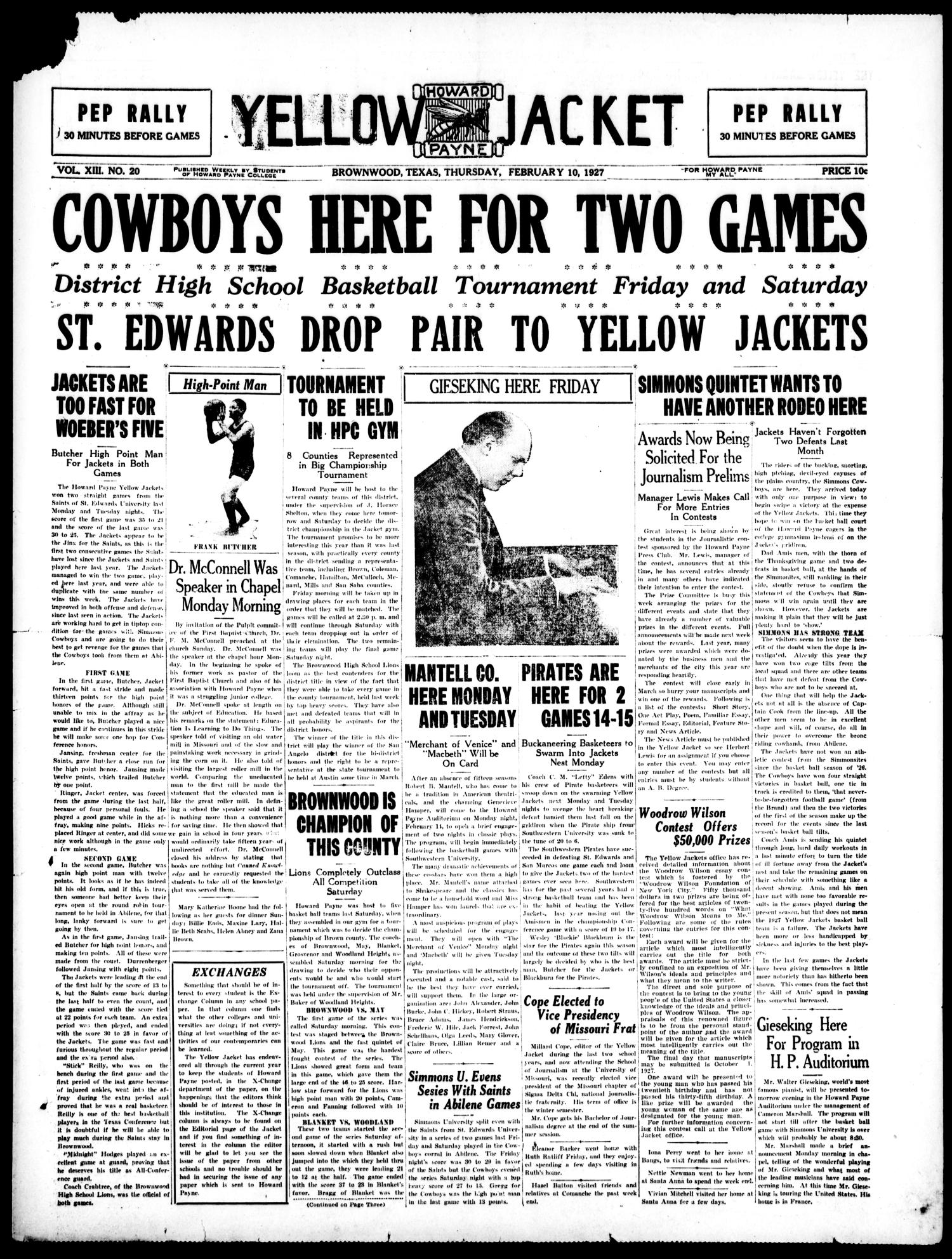 Yellow Jacket (Brownwood, Tex.), Vol. 13, No. 20, Ed. 1, Thursday, February 10, 1927                                                                                                      [Sequence #]: 1 of 4