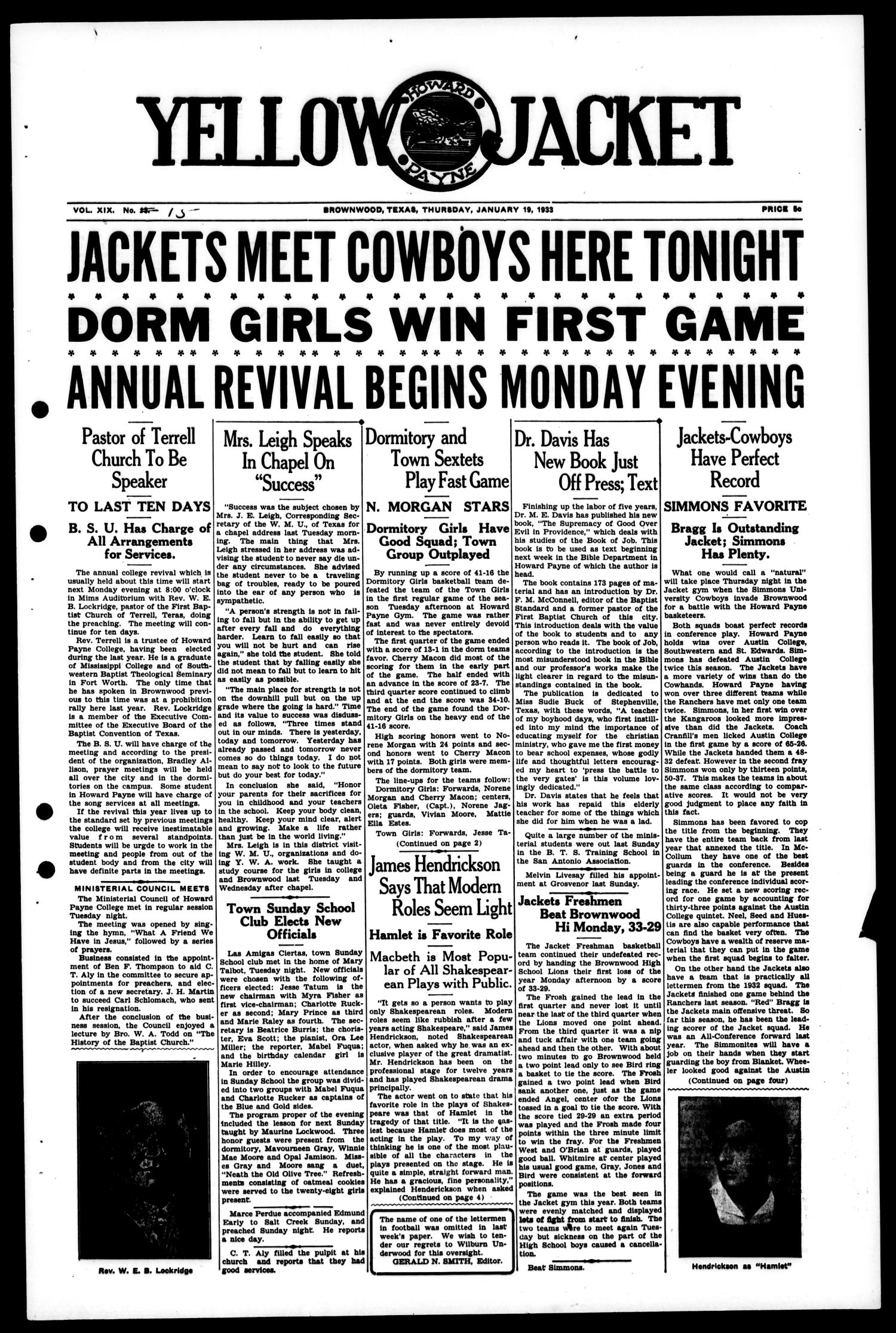Yellow Jacket (Brownwood, Tex.), Vol. 19, No. 15, Ed. 1, Thursday, January 19, 1933                                                                                                      [Sequence #]: 1 of 4