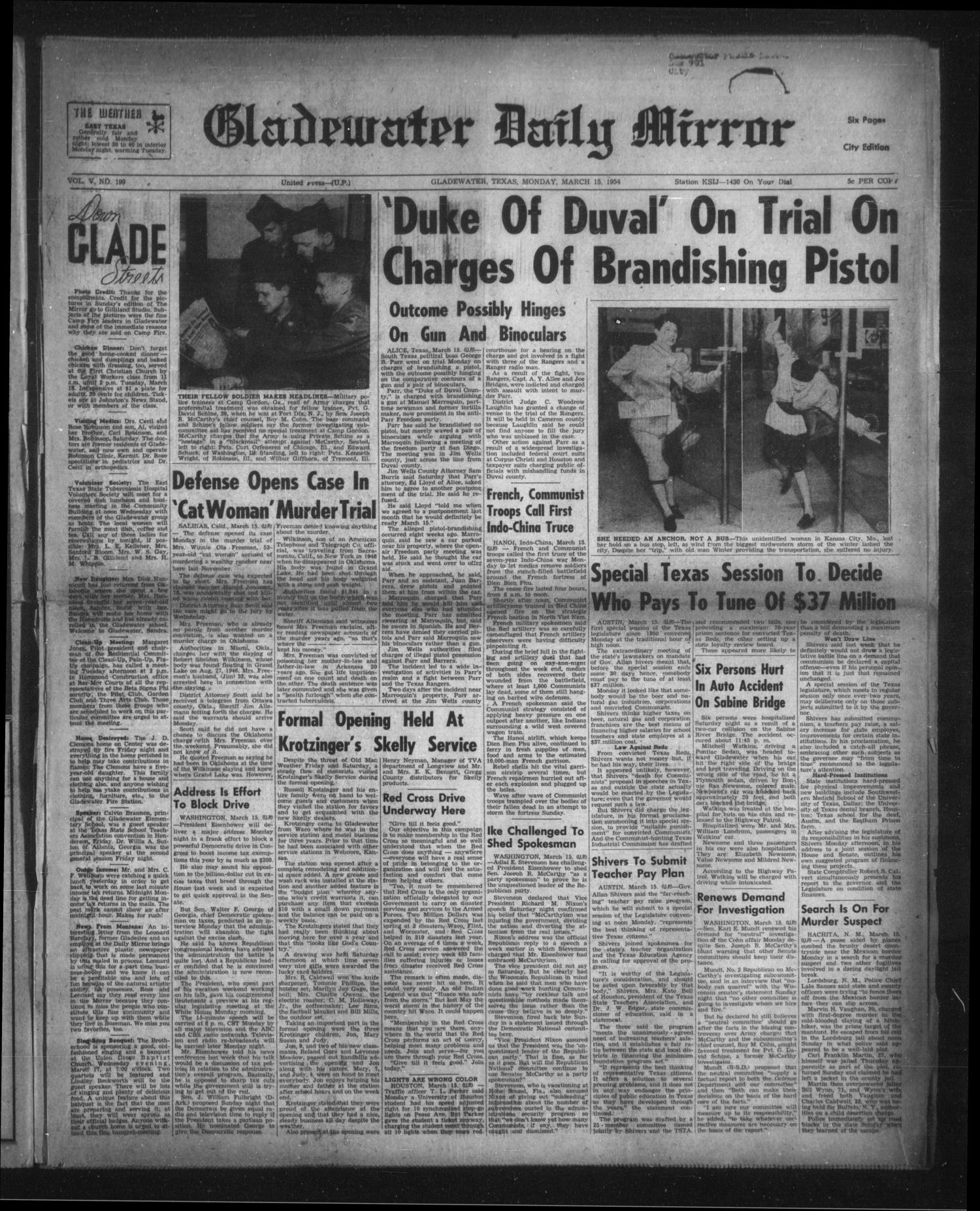 Gladewater Daily Mirror (Gladewater, Tex.), Vol. 5, No. 199, Ed. 1 Monday, March 15, 1954                                                                                                      [Sequence #]: 1 of 6
