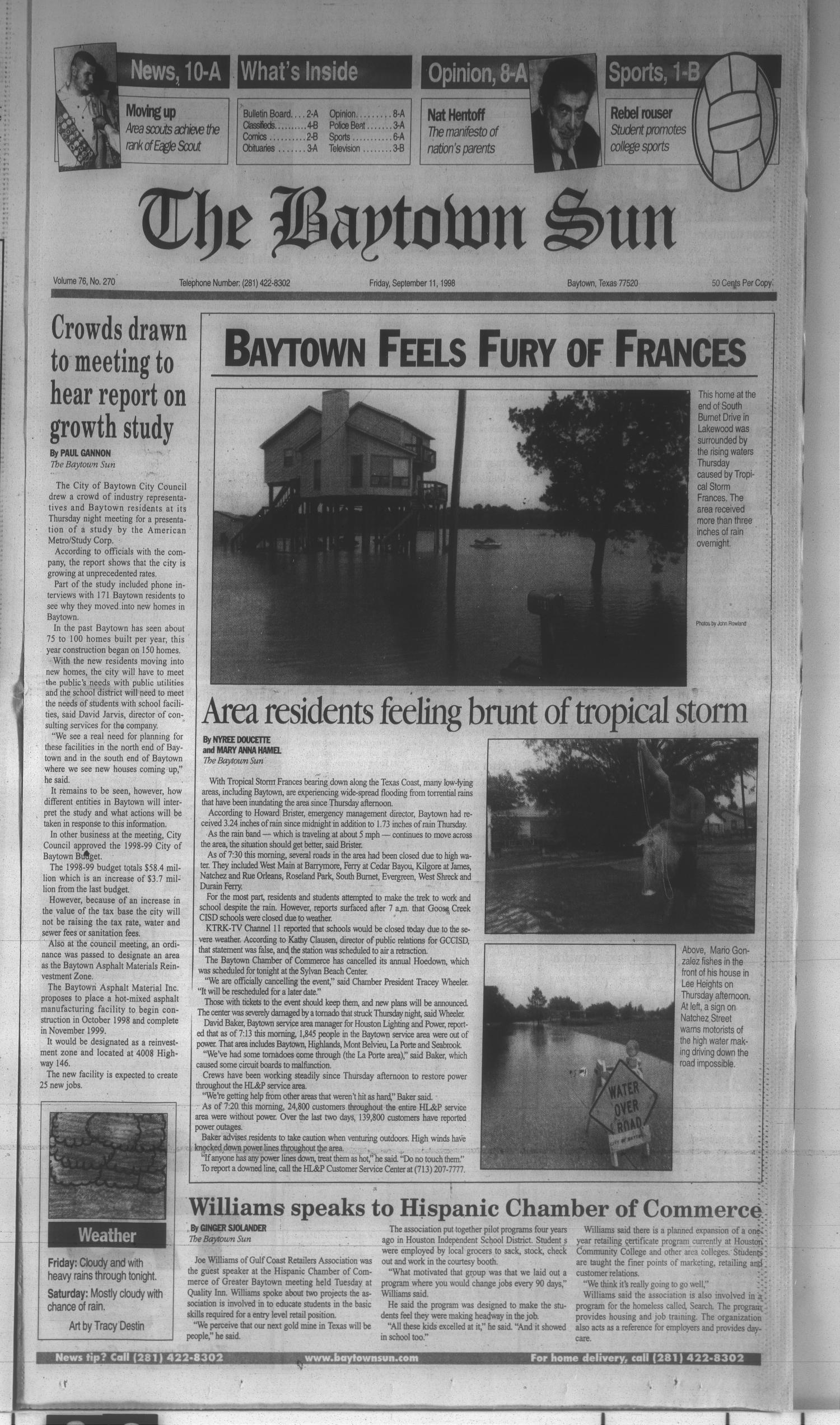 The Baytown Sun (Baytown, Tex.), Vol. 76, No. 270, Ed. 1 Friday, September 11, 1998                                                                                                      [Sequence #]: 1 of 20