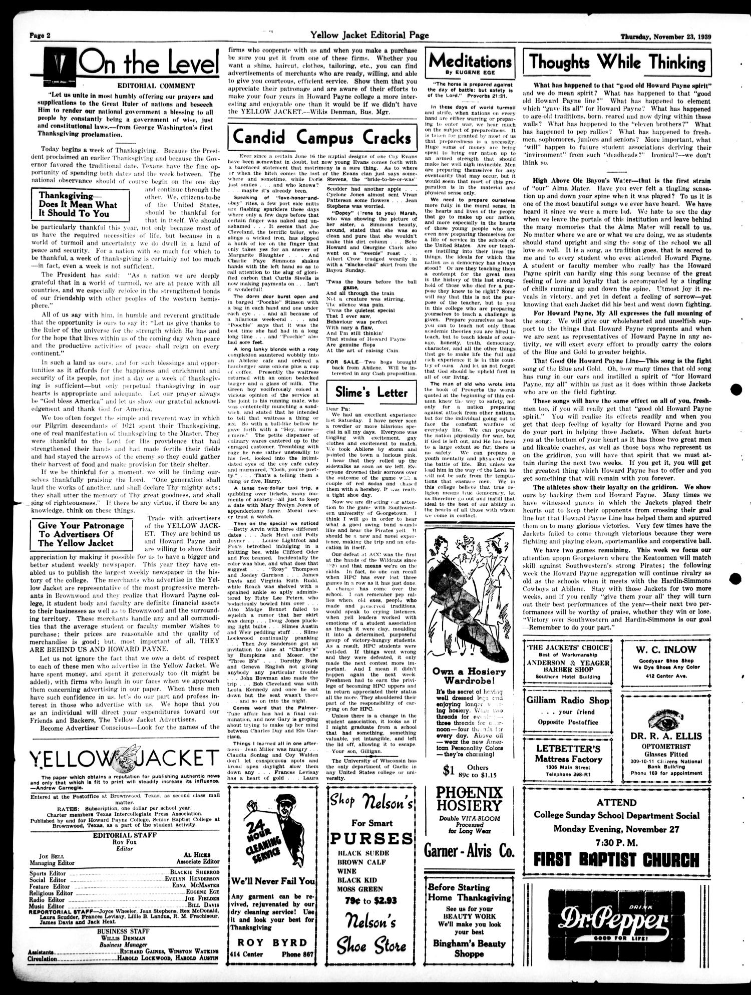 Yellow Jacket (Brownwood, Tex.), Vol. 26, No. 10, Ed. 1, Thursday, November 23, 1939                                                                                                      [Sequence #]: 2 of 4