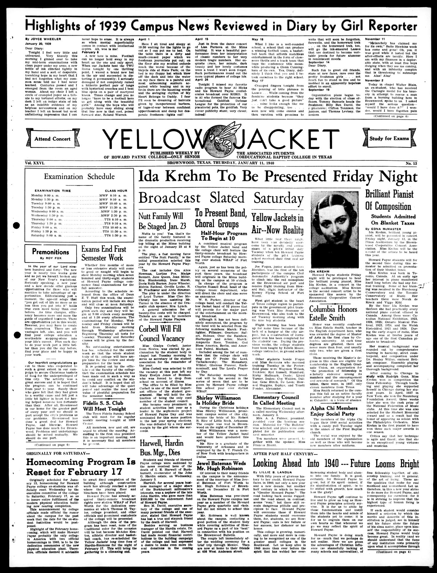 Yellow Jacket (Brownwood, Tex.), Vol. 26, No. 13, Ed. 1, Thursday, January 11, 1940                                                                                                      [Sequence #]: 1 of 4
