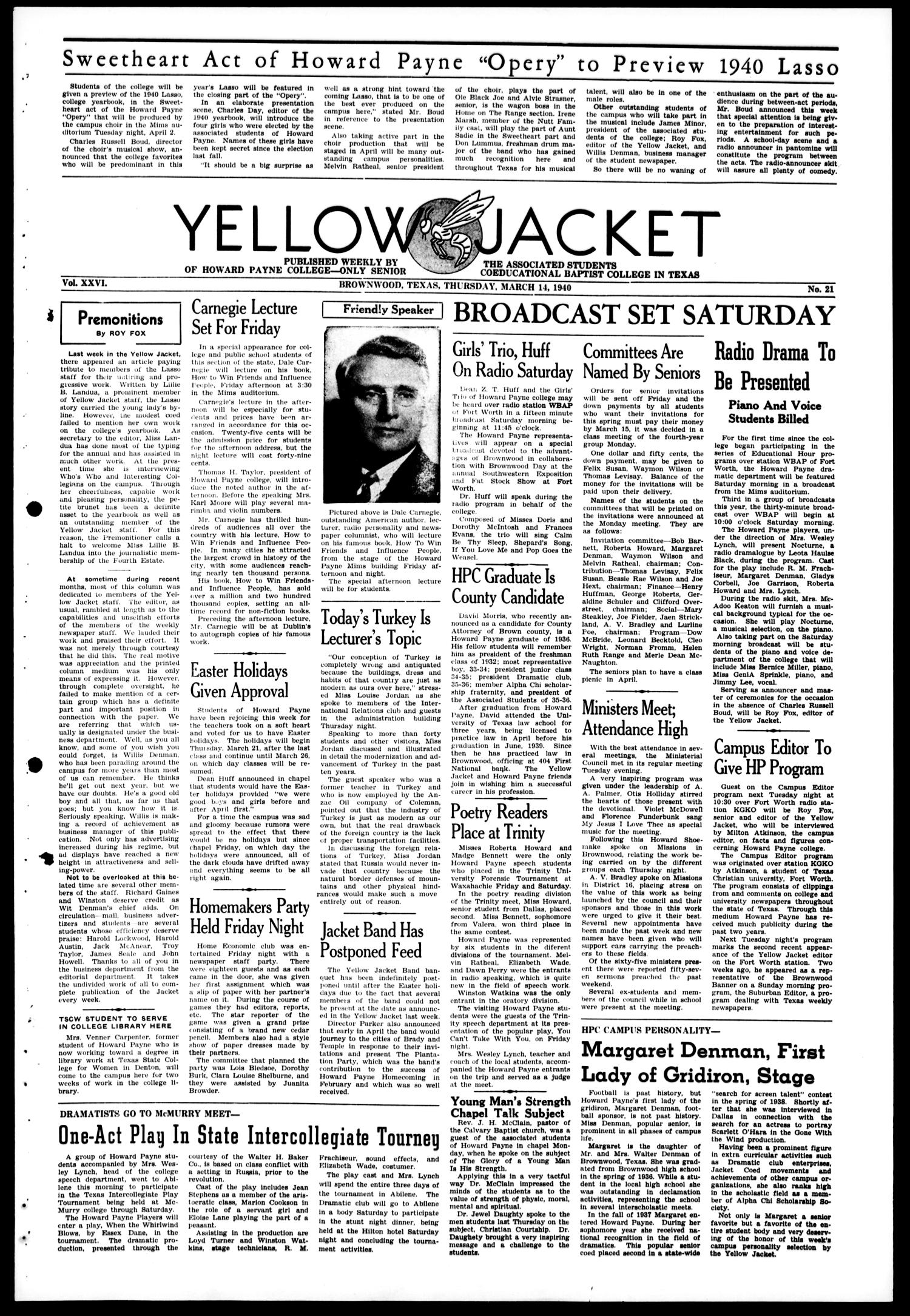 Yellow Jacket (Brownwood, Tex.), Vol. 26, No. 21, Ed. 1, Thursday, March 14, 1940                                                                                                      [Sequence #]: 1 of 4