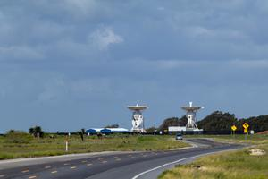 Primary view of object titled 'SpaceX S-band tracking station antennas in Boca Chica Village'.
