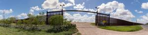 Open border fence in Brownsville, TX