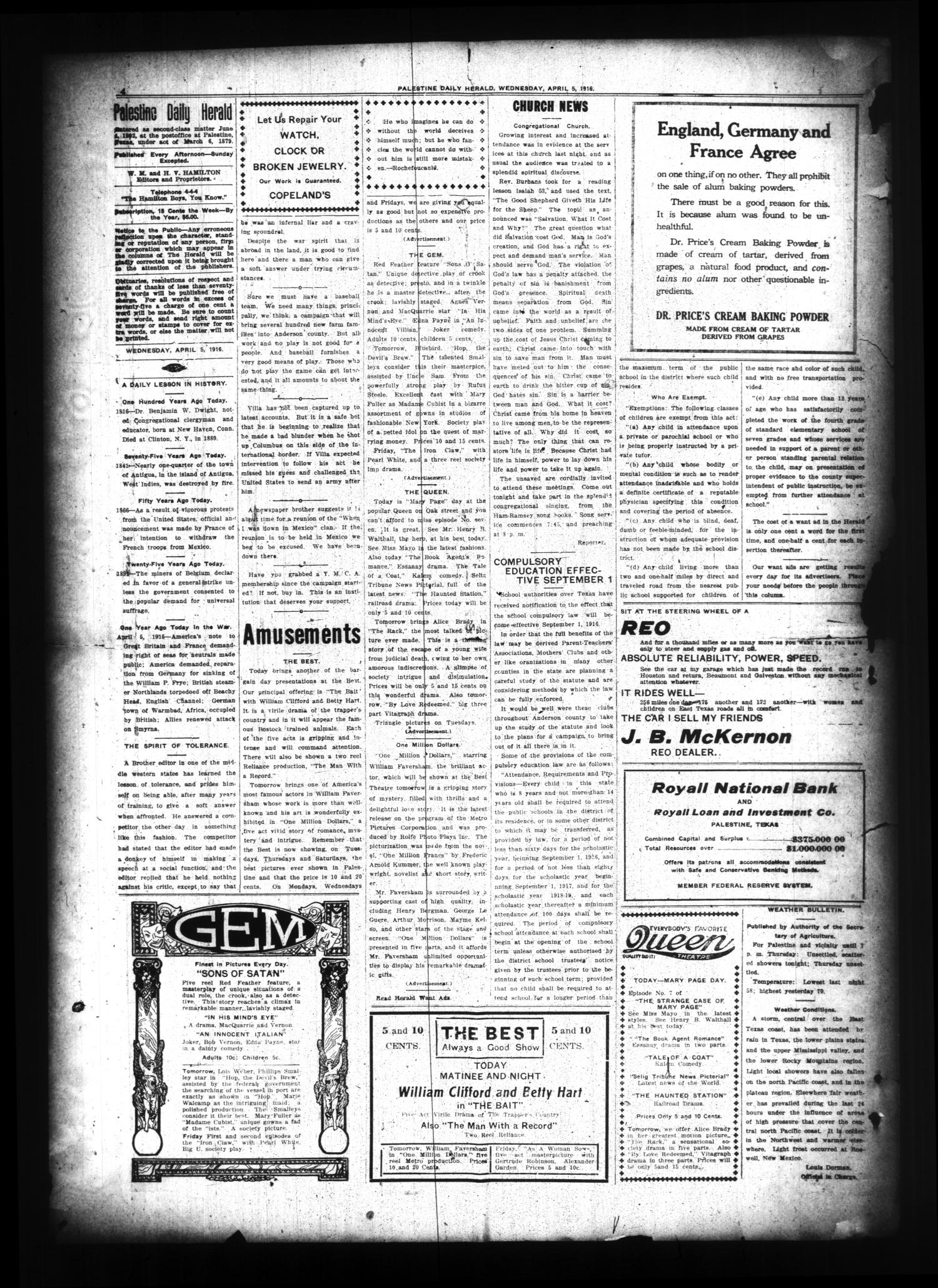 Palestine Daily Herald (Palestine, Tex), Vol. 14, No. 181, Ed. 1 Wednesday, April 5, 1916                                                                                                      [Sequence #]: 4 of 8