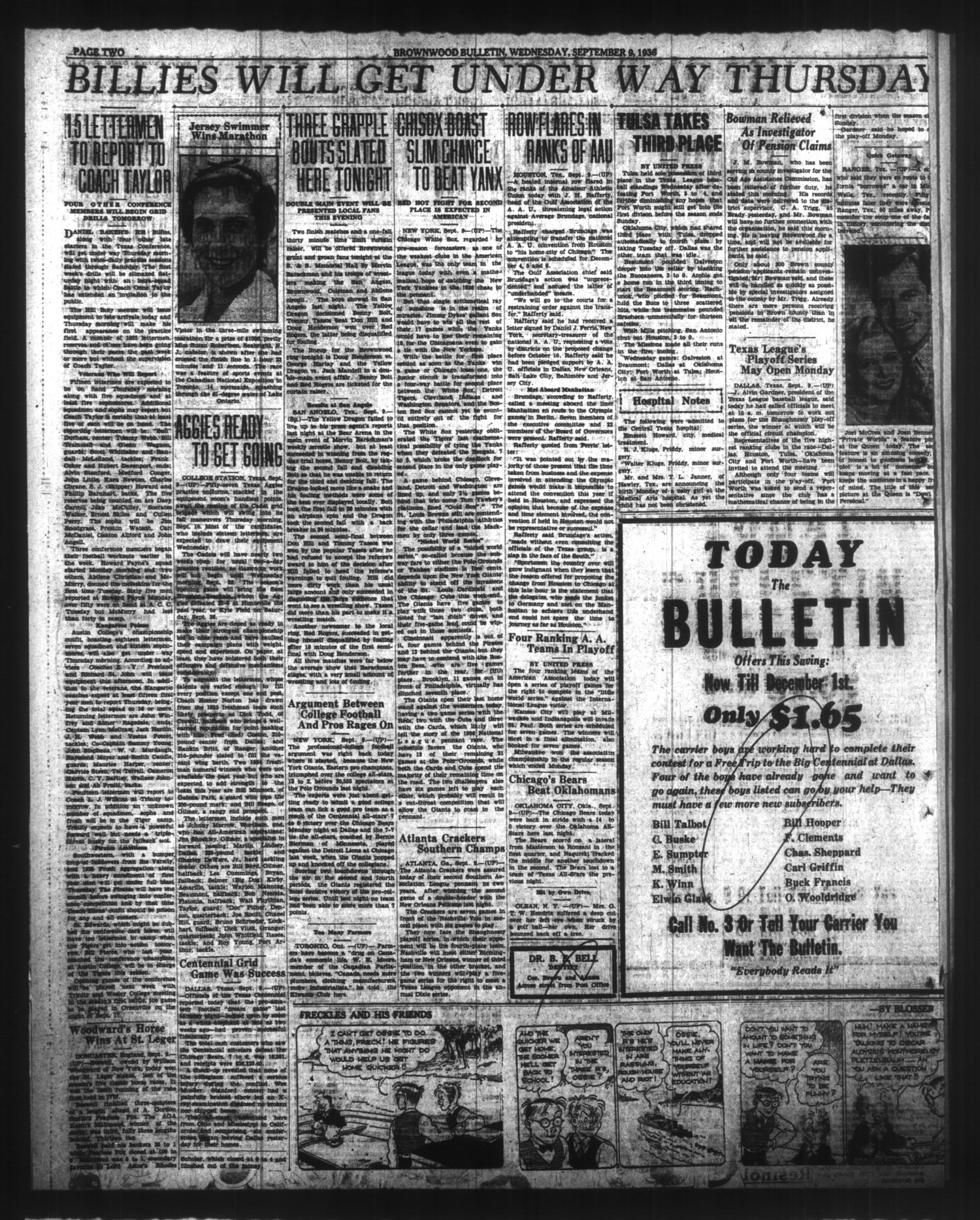 Brownwood Bulletin (Brownwood, Tex.), Vol. 36, No. 281, Ed. 1 Wednesday, September 9, 1936                                                                                                      [Sequence #]: 2 of 6