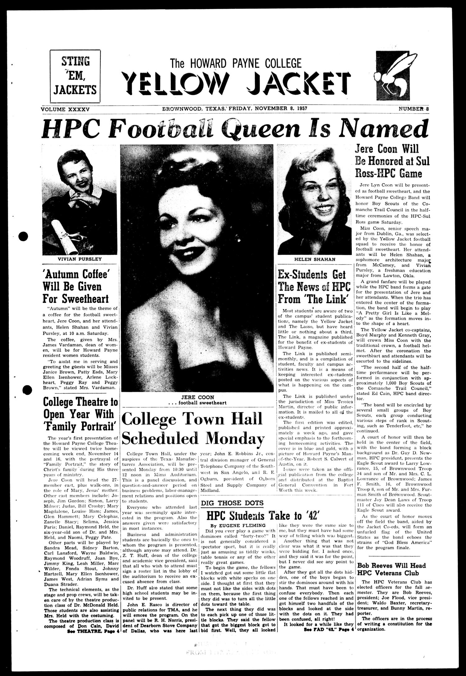 The Howard Payne College Yellow Jacket (Brownwood, Tex.), Vol. XXXXV, No. 8, Ed. 1, Friday, November 8, 1957                                                                                                      [Sequence #]: 1 of 4