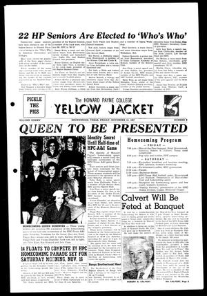 Primary view of object titled 'The Howard Payne College Yellow Jacket (Brownwood, Tex.), Vol. XXXXV, No. 9, Ed. 1, Friday, November 15, 1957'.