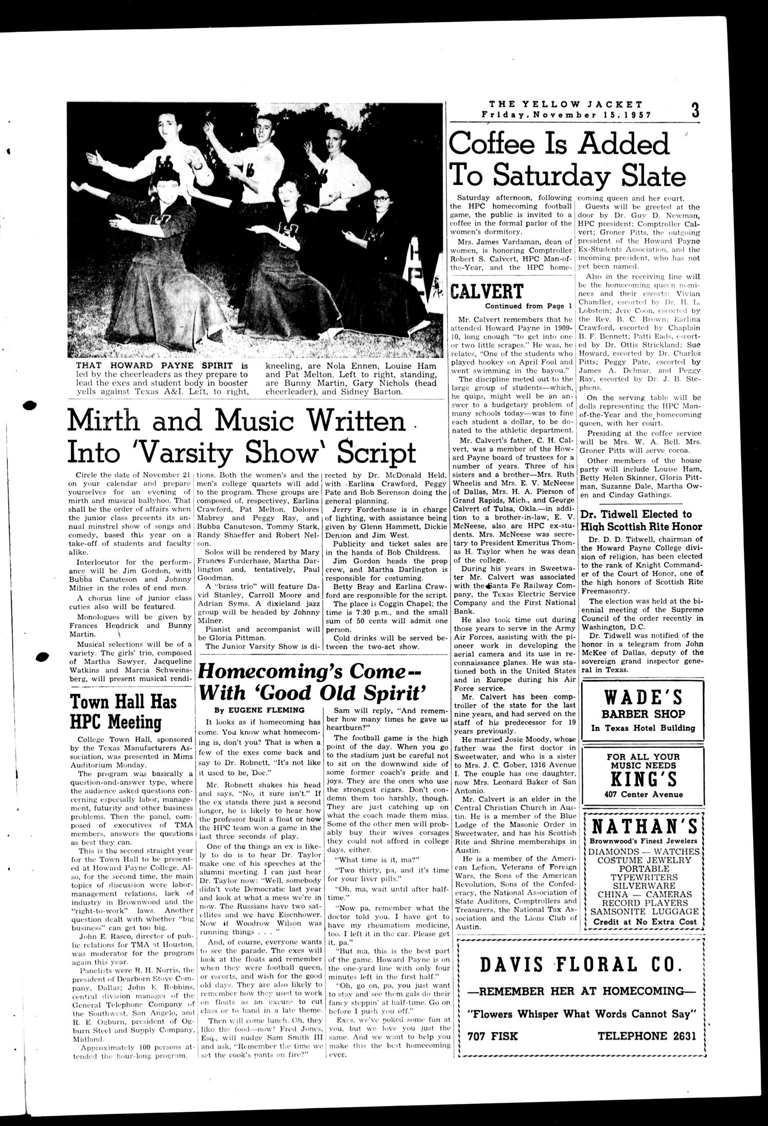 The Howard Payne College Yellow Jacket (Brownwood, Tex.), Vol. XXXXV, No. 9, Ed. 1, Friday, November 15, 1957                                                                                                      [Sequence #]: 3 of 6