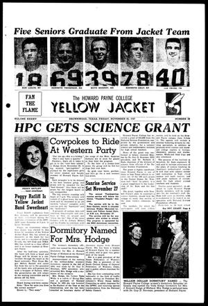 Primary view of object titled 'The Howard Payne College Yellow Jacket (Brownwood, Tex.), Vol. XXXXV, No. 10, Ed. 1, Friday, November 22, 1957'.