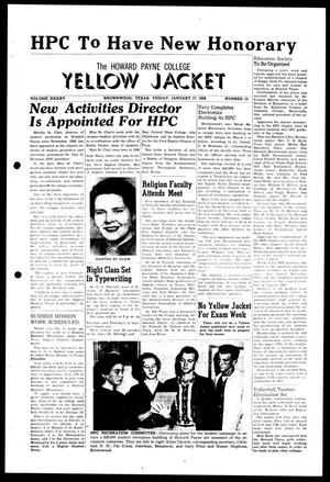 Primary view of object titled 'The Howard Payne College Yellow Jacket (Brownwood, Tex.), Vol. XXXXV, No. 15, Ed. 1, Friday, January 17, 1958'.