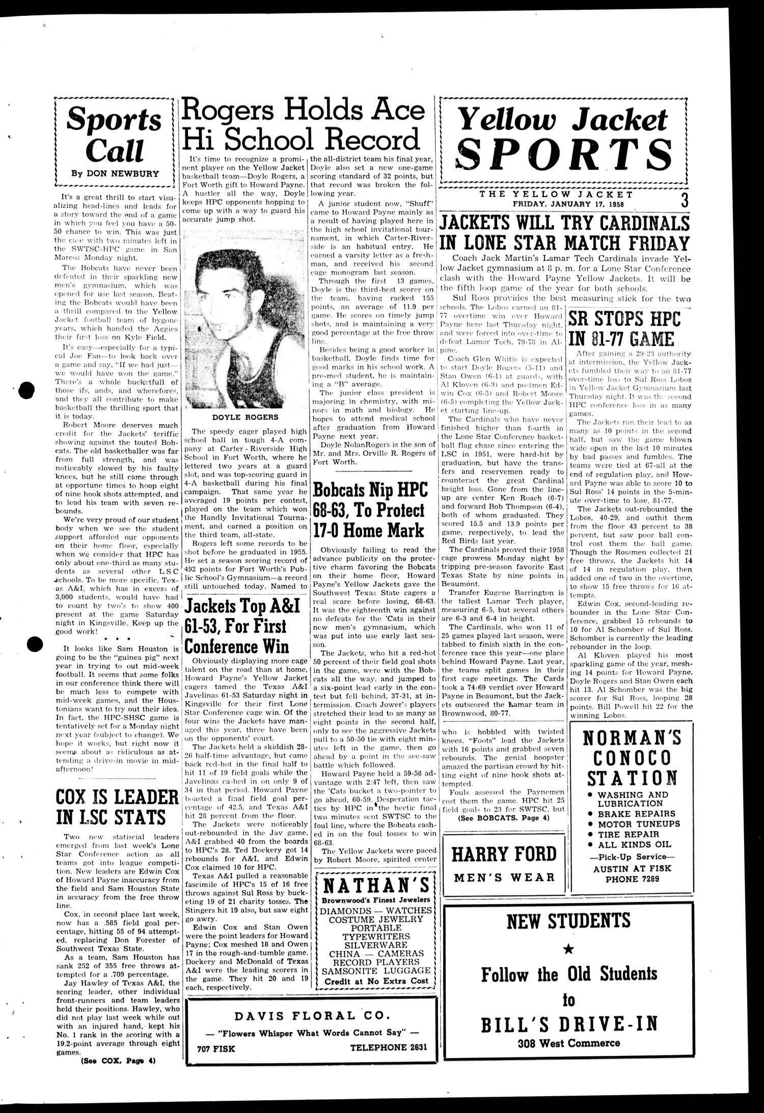 The Howard Payne College Yellow Jacket (Brownwood, Tex.), Vol. XXXXV, No. 15, Ed. 1, Friday, January 17, 1958                                                                                                      [Sequence #]: 3 of 4