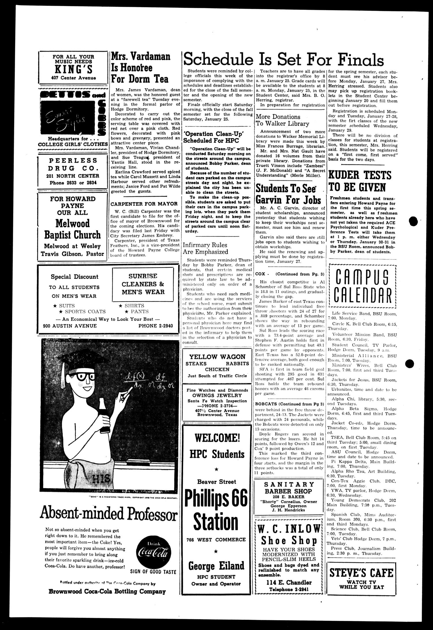 The Howard Payne College Yellow Jacket (Brownwood, Tex.), Vol. XXXXV, No. 15, Ed. 1, Friday, January 17, 1958                                                                                                      [Sequence #]: 4 of 4