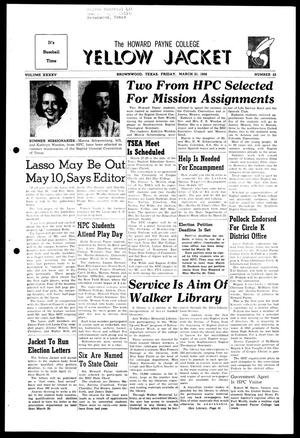 Primary view of object titled 'The Howard Payne College Yellow Jacket (Brownwood, Tex.), Vol. XXXXV, No. 23, Ed. 1, Friday, March 21, 1958'.