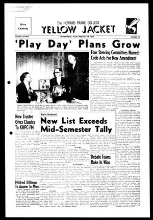 The Howard Payne College Yellow Jacket (Brownwood, Tex.), Vol. XXXXVII, No. 19, Ed. 1, Friday, February 19, 1960