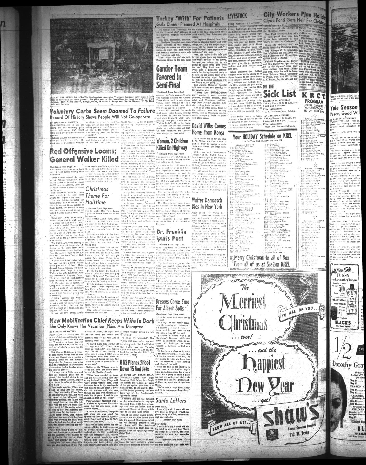The Baytown Sun (Baytown, Tex.), Vol. 34, No. 145, Ed. 1 Saturday, December 23, 1950                                                                                                      [Sequence #]: 2 of 46