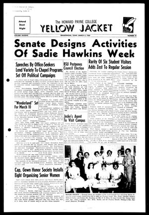 Primary view of object titled 'The Howard Payne College Yellow Jacket (Brownwood, Tex.), Vol. XXXXVII, No. 21, Ed. 1, Friday, March 4, 1960'.