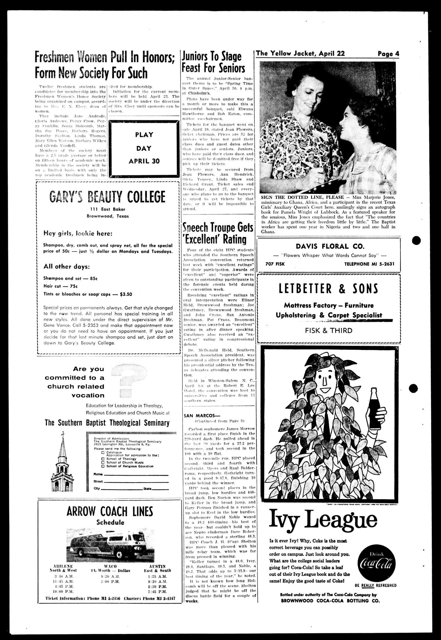 The Howard Payne College Yellow Jacket (Brownwood, Tex.), Vol. XXXXVII, No. 27, Ed. 1, Friday, April 22, 1960                                                                                                      [Sequence #]: 4 of 4