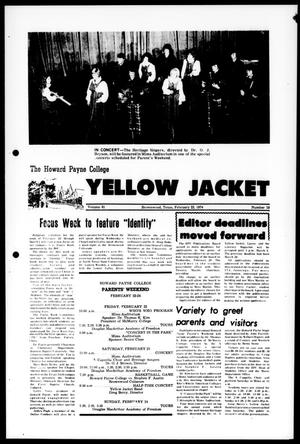 Primary view of object titled 'The Howard Payne College Yellow Jacket (Brownwood, Tex.), Vol. 61, No. 19, Ed. 1, Friday, February 22, 1974'.