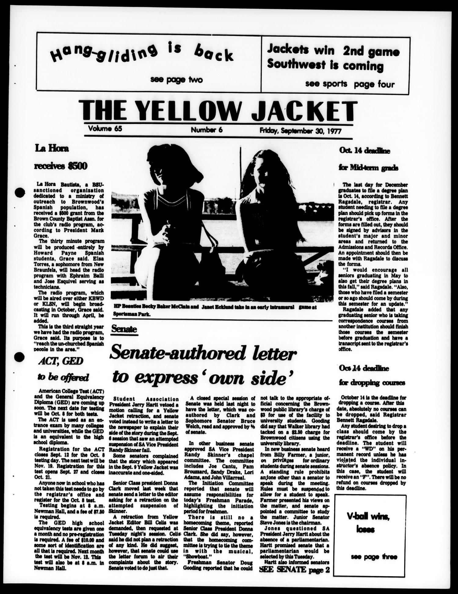 The Yellow Jacket (Brownwood, Tex.), Vol. 65, No. 6, Ed. 1, Friday, September 30, 1977                                                                                                      [Sequence #]: 1 of 4